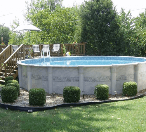 Above Ground Pool Shrubs Design