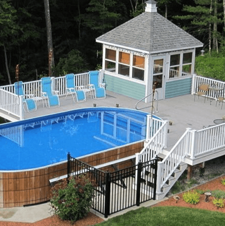 Painted Wood above ground pool Landscaping
